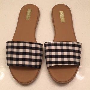 Black & White Gingham Checkered Flat Sandal Slides